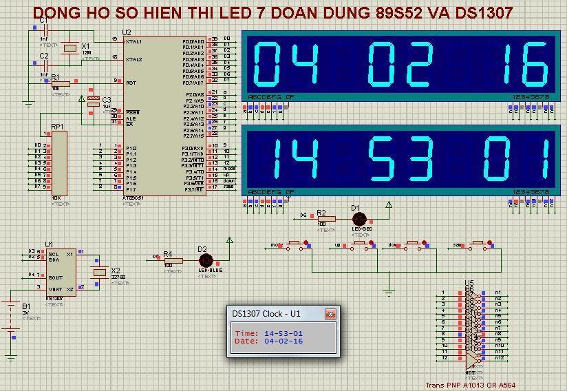 Đồng hồ số hiển thị trên LED 7 đoạn dùng 89S52 và DS1307