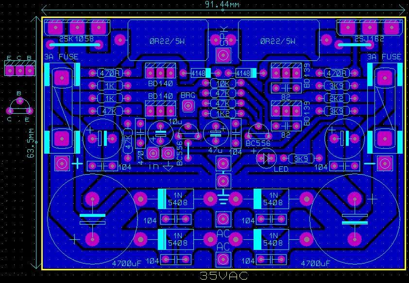 Mạch ampli 100W sử dụng cặp sò MOSFET 2SK1058 và 2SJ162