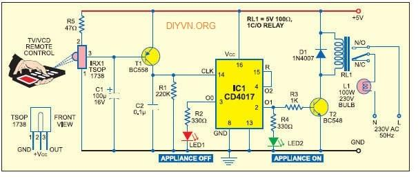 Ứng dụng IC 4017 cho LED, IR
