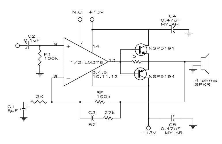 Mạch khuyếch đại âm thanh 12W có độ méo thấp