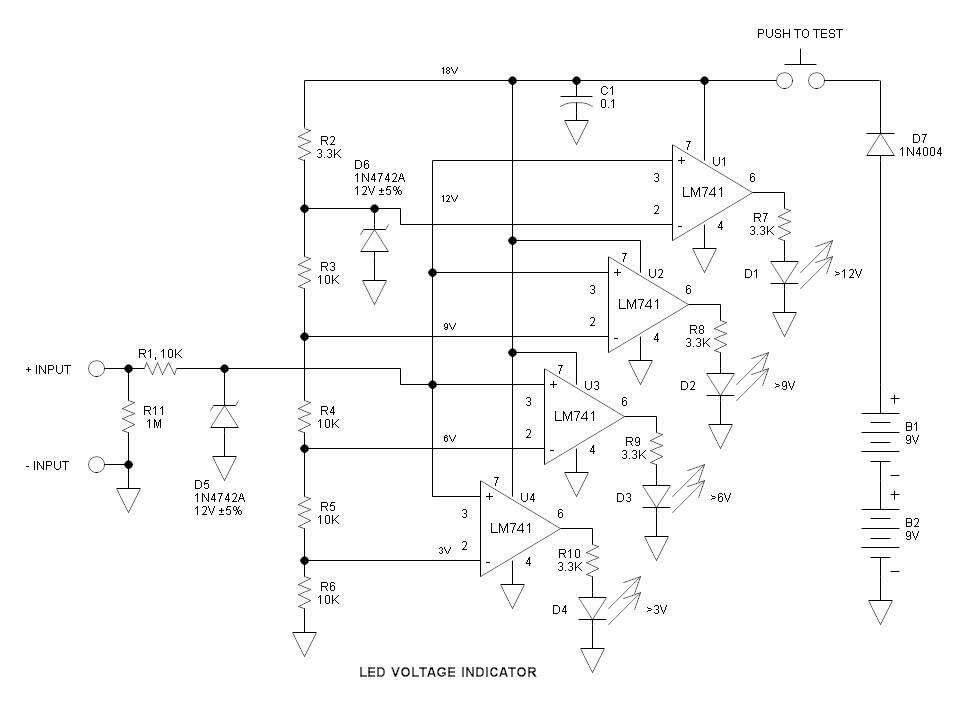 Mạch kiểm tra và báo điện áp bằng đèn LED